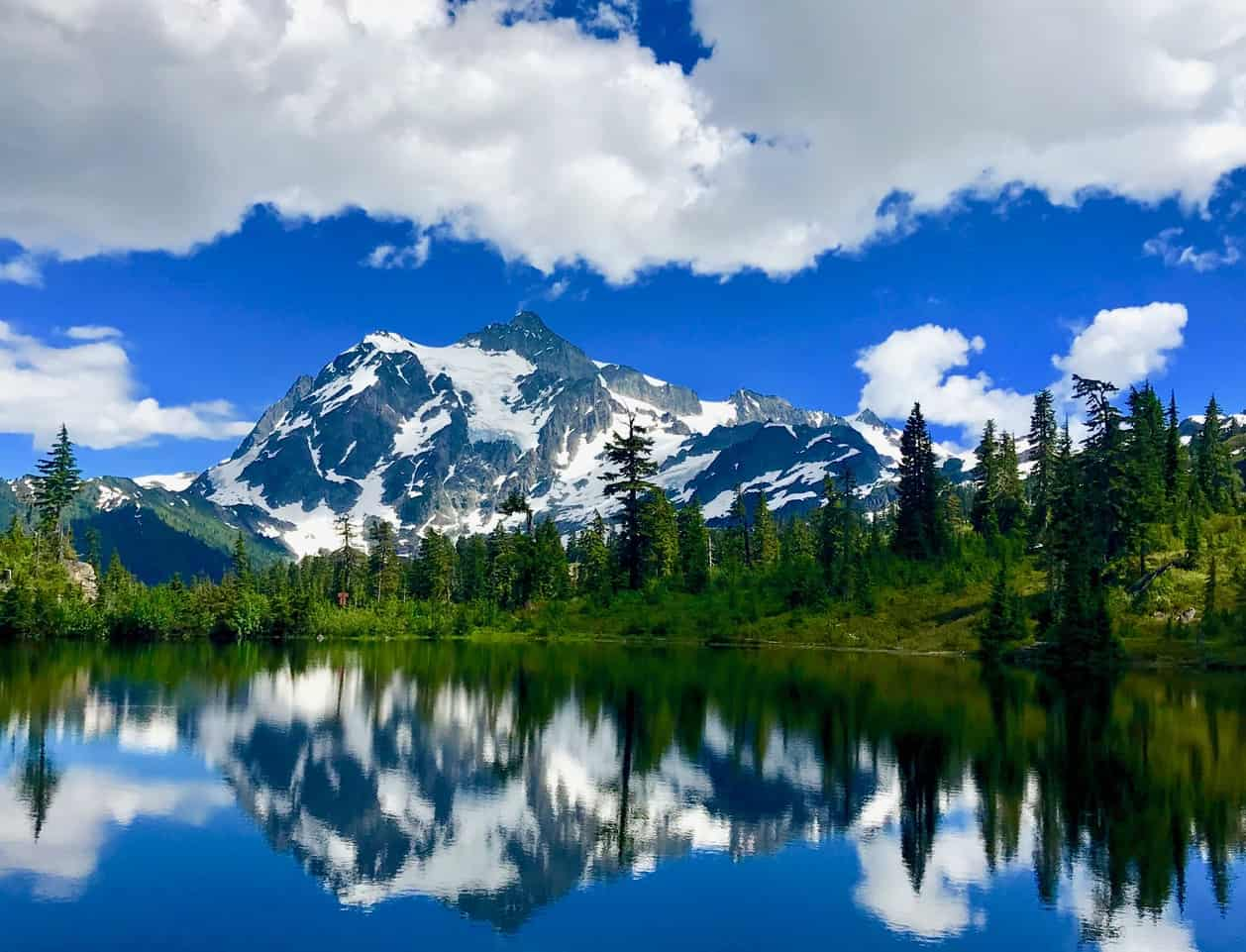 Mount Shuksan reflects in Picture Lake at Mount Baker