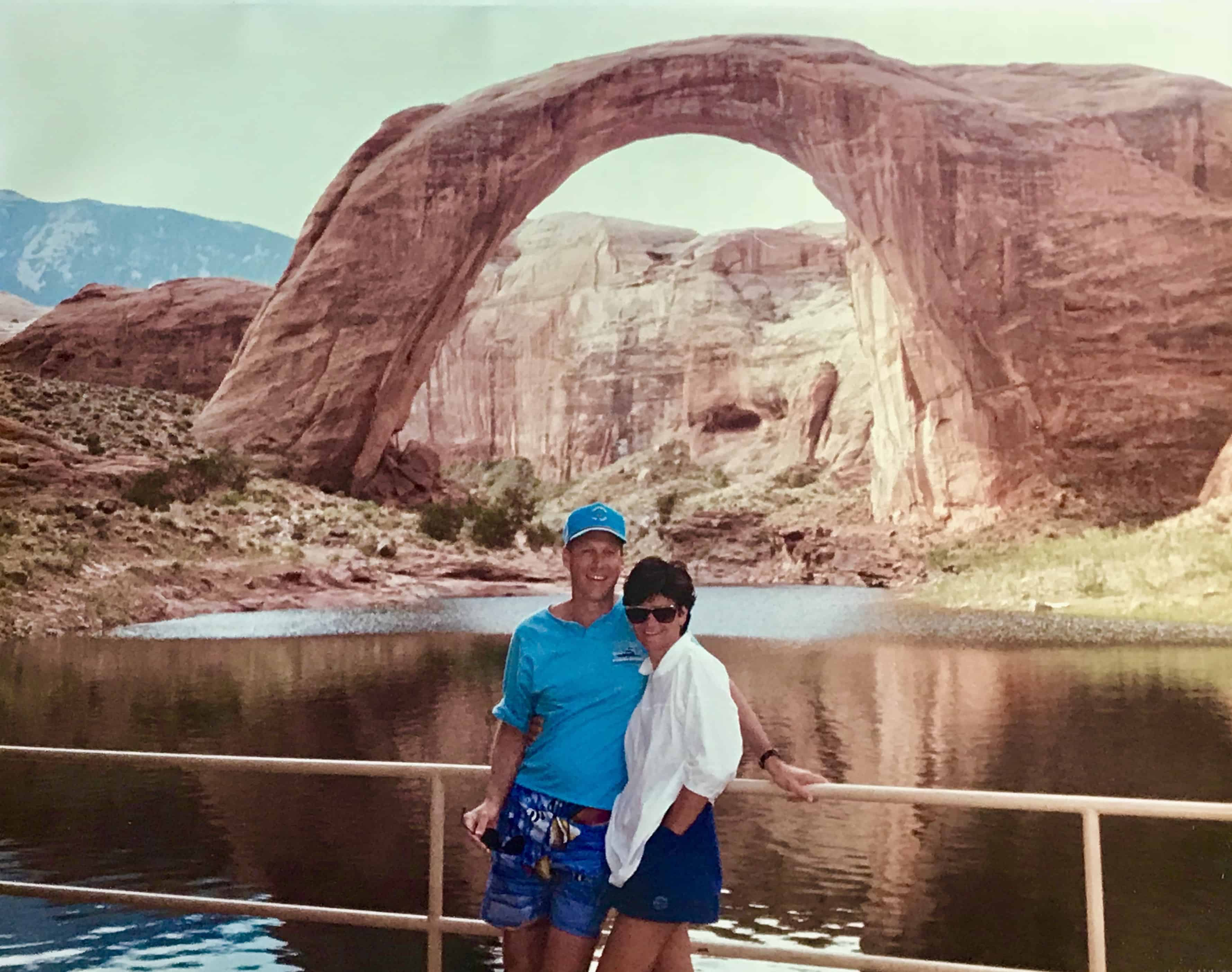 Tim and Deborah at Rainbow Bridge, Lake Powell. 1988