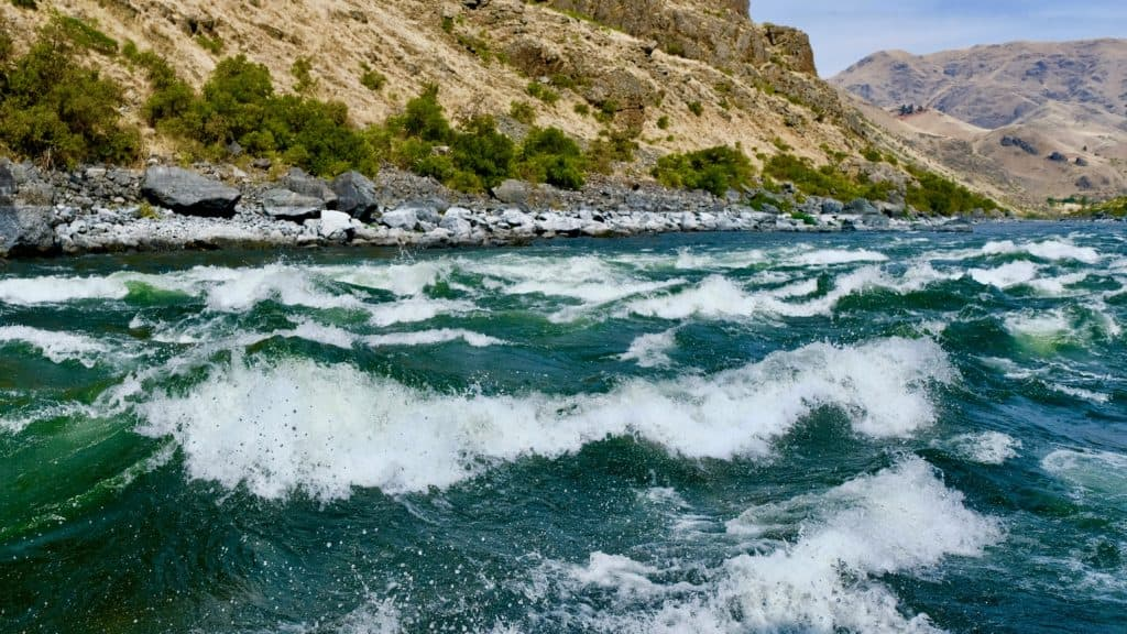 Wild Sheep Rapids, the first of consecutive Class IV rapids on the Snake River