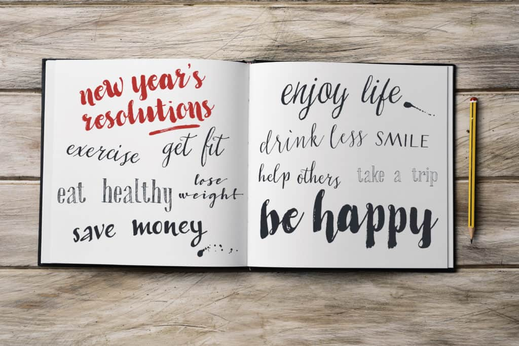 New Years resolutions in a notebook