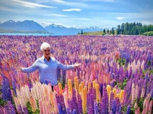 Deborah in flowers in New Zealand